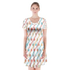 Simple Saturated Pattern Short Sleeve V Neck Flare Dress