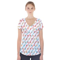 Simple Saturated Pattern Short Sleeve Front Detail Top