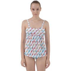 Simple Saturated Pattern Twist Front Tankini Set
