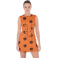 Funny Halloween   Burned Skull Pattern Lace Up Front Bodycon Dress