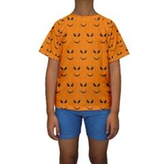 Funny Halloween   Face Pattern Kids  Short Sleeve Swimwear