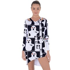 Funny Halloween   Ghost Pattern 2 Asymmetric Cut Out Shift Dress