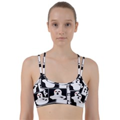 Funny Halloween   Ghost Pattern 2 Line Them Up Sports Bra