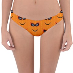 Funny Halloween   Face Pattern 2 Reversible Hipster Bikini Bottoms