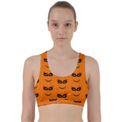Funny Halloween   Face Pattern 2 Back Weave Sports Bra