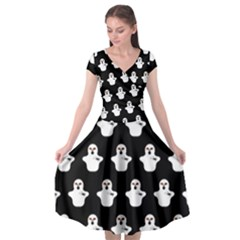 Funny Halloween   Ghost Pattern Cap Sleeve Wrap Front Dress