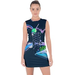 Gonzo s Vip Blue Member Lace Up Front Bodycon Dress