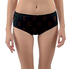 Ornamental Pattern Background Reversible Mid Waist Bikini Bottoms