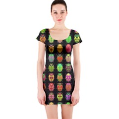 Beetles Insects Bugs Short Sleeve Bodycon Dress