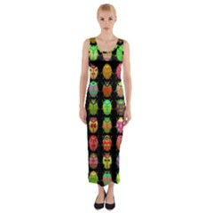 Beetles Insects Bugs Fitted Maxi Dress