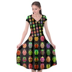 Beetles Insects Bugs Cap Sleeve Wrap Front Dress