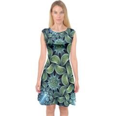 Blue Lotus Capsleeve Midi Dress