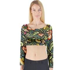 Bohemia Floral Pattern Long Sleeve Crop Top