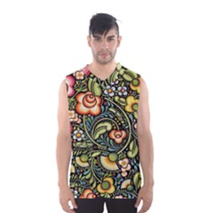 Bohemia Floral Pattern Men s Basketball Tank Top