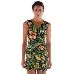 Bohemia Floral Pattern Wrap Front Bodycon Dress