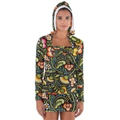 Bohemia Floral Pattern Long Sleeve Hooded T Shirt