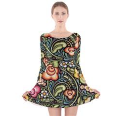 Bohemia Floral Pattern Long Sleeve Velvet Skater Dress
