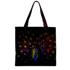 Beautiful Peacock Feather Zipper Grocery Tote Bag