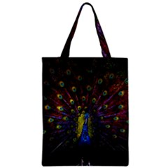 Beautiful Peacock Feather Zipper Classic Tote Bag