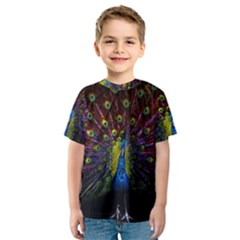 Beautiful Peacock Feather Kids  Sport Mesh Tee