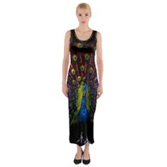 Beautiful Peacock Feather Fitted Maxi Dress