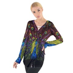 Beautiful Peacock Feather Tie Up Tee