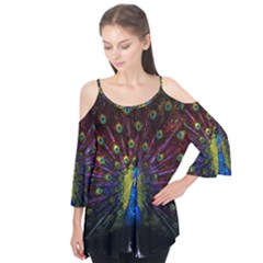 Beautiful Peacock Feather Flutter Tees