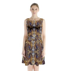 Baroque Fractal Pattern Sleeveless Waist Tie Chiffon Dress
