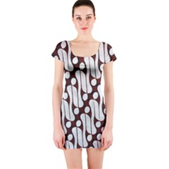 Batik Art Patterns Short Sleeve Bodycon Dress