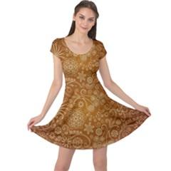 Batik Art Pattern Cap Sleeve Dresses