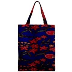 Batik  Fabric Zipper Classic Tote Bag
