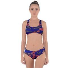 Batik  Fabric Criss Cross Bikini Set