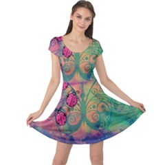 Background Colorful Bugs Cap Sleeve Dresses