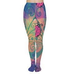 Background Colorful Bugs Women s Tights