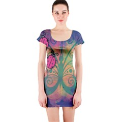 Background Colorful Bugs Short Sleeve Bodycon Dress