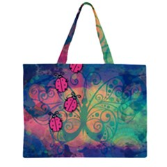 Background Colorful Bugs Zipper Large Tote Bag