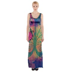 Background Colorful Bugs Maxi Thigh Split Dress