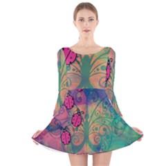Background Colorful Bugs Long Sleeve Velvet Skater Dress