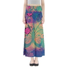 Background Colorful Bugs Full Length Maxi Skirt