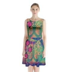 Background Colorful Bugs Sleeveless Waist Tie Chiffon Dress