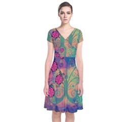 Background Colorful Bugs Short Sleeve Front Wrap Dress