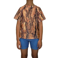 Bark Texture Wood Large Rough Red Wood Outside California Kids  Short Sleeve Swimwear