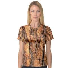 Bark Texture Wood Large Rough Red Wood Outside California V Neck Sport Mesh Tee