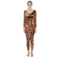 Bark Texture Wood Large Rough Red Wood Outside California Long Sleeve Catsuit