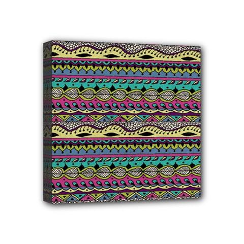 Aztec Pattern Cool Colors Mini Canvas 4  X 4
