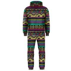 Aztec Pattern Cool Colors Hooded Jumpsuit (men)