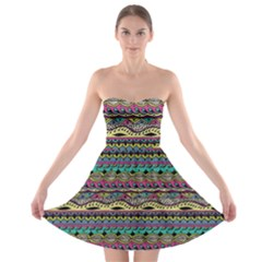Aztec Pattern Cool Colors Strapless Bra Top Dress