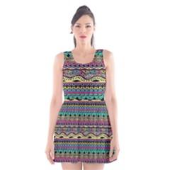 Aztec Pattern Cool Colors Scoop Neck Skater Dress