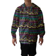 Aztec Pattern Cool Colors Hooded Wind Breaker (kids)
