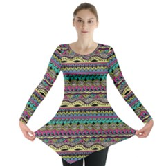 Aztec Pattern Cool Colors Long Sleeve Tunic